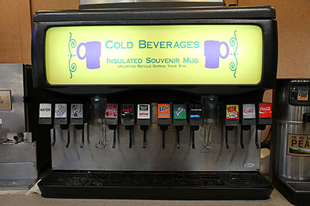 Cold Drink Dispensers at the Sassagoula Floatworks & Food Factory