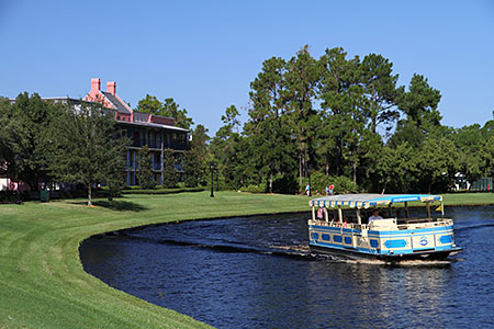 Sassgoula River Ferryboat passes Port Orleans French Quarter
