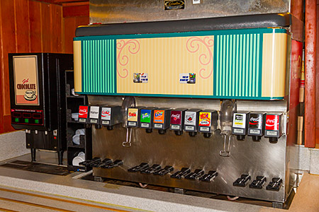 Riverside Mill beverage station (note the two status screens above the dispensers)