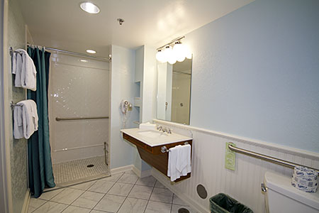 Bathroom with Roll-in Shower area in Magnolia Bend room