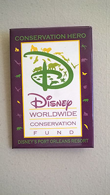 Port Orleans French Quarter Wildlife Conservation Fund badge, minimum $1 donation