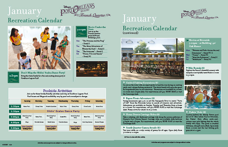 May Calendar New Orleans : Port orleans monthly recreational activities schedules